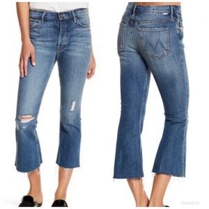 Mother Nomad Crop Fray distressed raw hem jeans